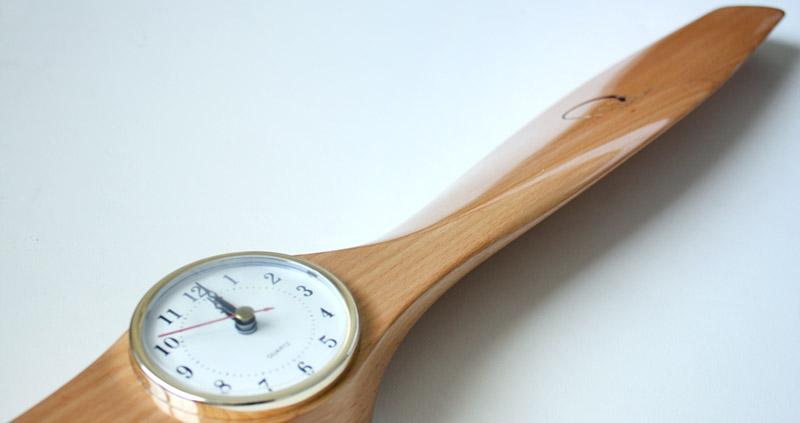 Propeller Wall Clock : Xoar quot wood wooden propeller clock airplane aviation
